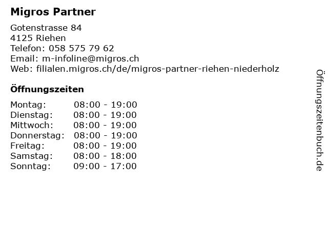 Migros Partner in Riehen: Adresse und Öffnungszeiten