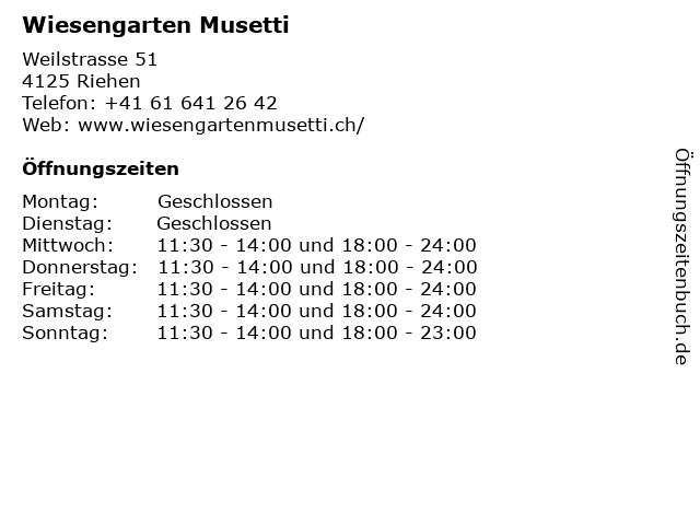 Wiesengarten Musetti in Riehen: Adresse und Öffnungszeiten