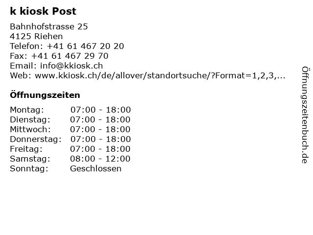 k kiosk Post in Riehen: Adresse und Öffnungszeiten