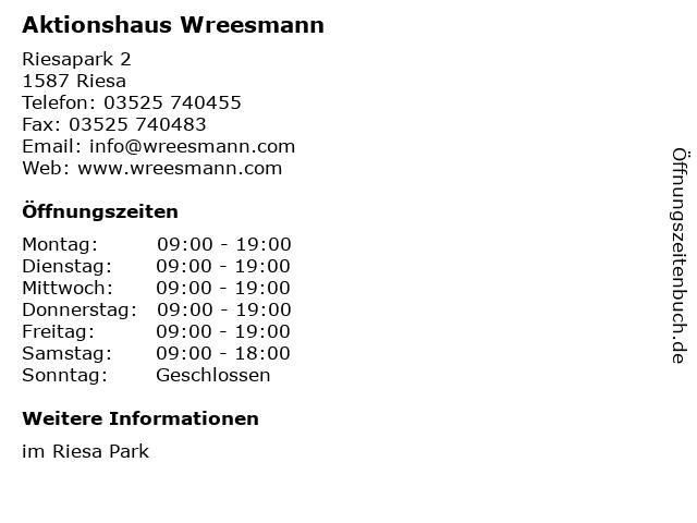 Aktionshaus Wreesmann in Riesa: Adresse und Öffnungszeiten
