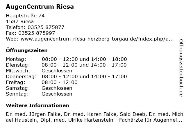 AugenCentrum Riesa in Riesa: Adresse und Öffnungszeiten