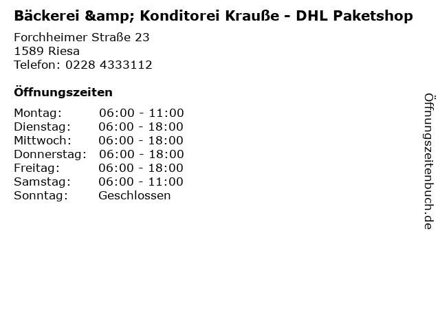 Bäckerei & Konditorei Krauße - DHL Paketshop in Riesa: Adresse und Öffnungszeiten