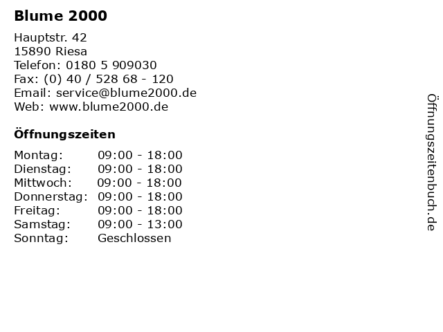 Blume 2000 in Riesa: Adresse und Öffnungszeiten