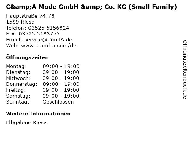 C&A Mode GmbH & Co. KG (Small Family) in Riesa: Adresse und Öffnungszeiten