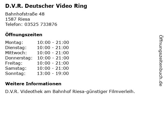 D.V.R. Deutscher Video Ring in Riesa: Adresse und Öffnungszeiten