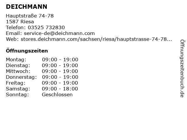 Deichmann Schuhe in Riesa: Adresse und Öffnungszeiten