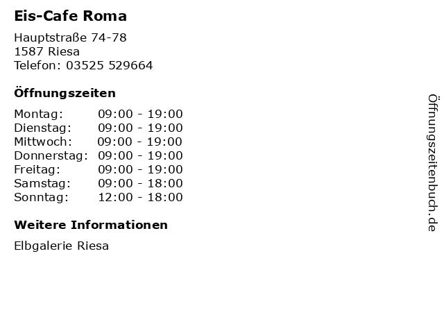 Eis-Cafe Roma in Riesa: Adresse und Öffnungszeiten