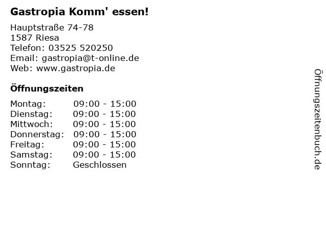 Gastropia Komm' essen! in Riesa: Adresse und Öffnungszeiten