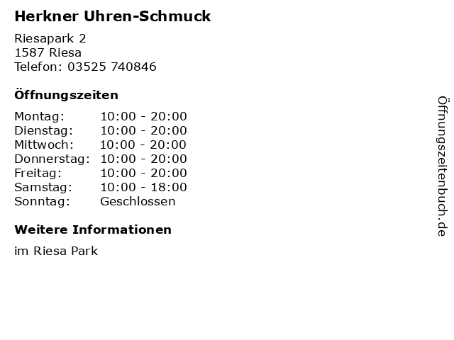 Herkner Uhren-Schmuck in Riesa: Adresse und Öffnungszeiten