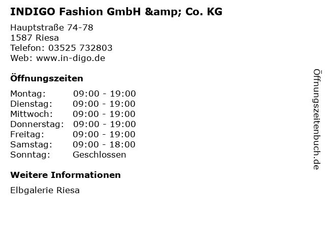 INDIGO Fashion GmbH & Co. KG in Riesa: Adresse und Öffnungszeiten