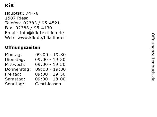 KiK in Riesa: Adresse und Öffnungszeiten