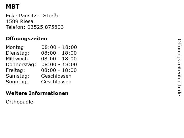MBT in Riesa: Adresse und Öffnungszeiten