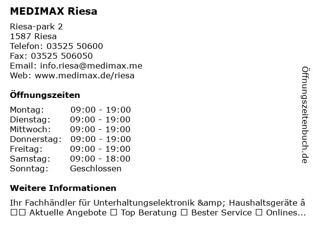 MEDIMAX Electronic Objekt Riesa GmbH in Riesa: Adresse und Öffnungszeiten