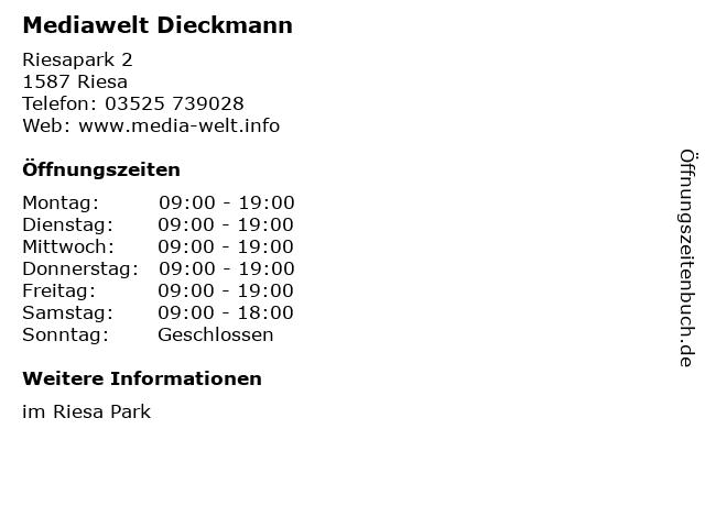 Mediawelt Dieckmann in Riesa: Adresse und Öffnungszeiten