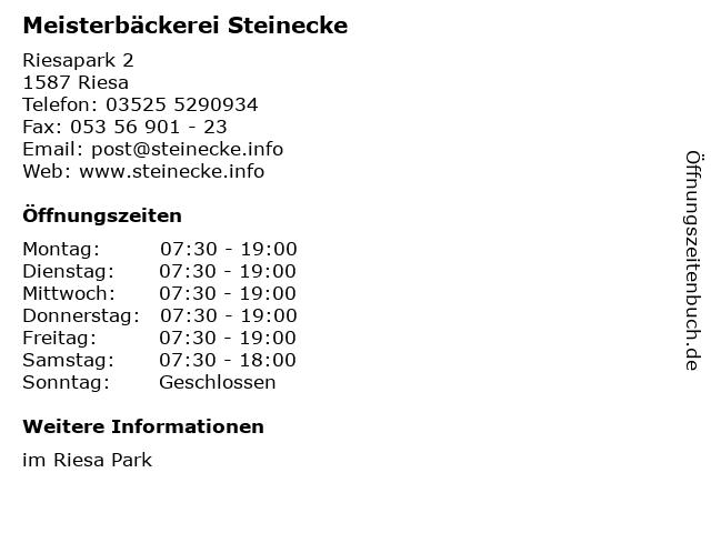 Meisterbäckerei Steinecke GmbH und Co. KG in Riesa: Adresse und Öffnungszeiten