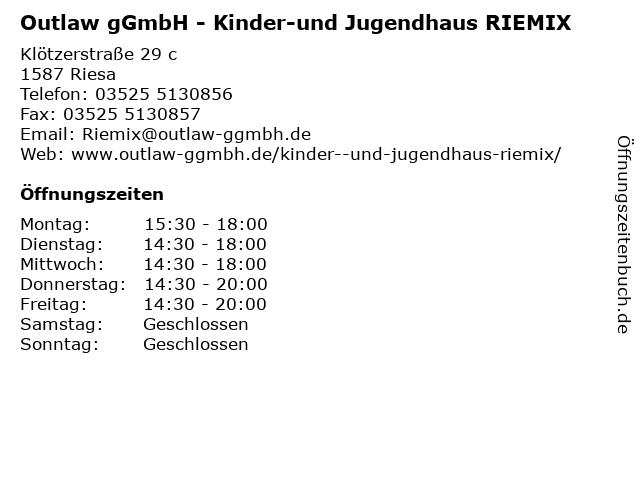 Outlaw gGmbH - Kinder-und Jugendhaus RIEMIX in Riesa: Adresse und Öffnungszeiten