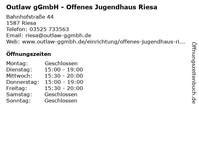 Outlaw gGmbH - Offenes Jugendhaus Riesa in Riesa: Adresse und Öffnungszeiten