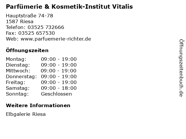 Parfümerie & Kosmetik-Institut Vitalis in Riesa: Adresse und Öffnungszeiten