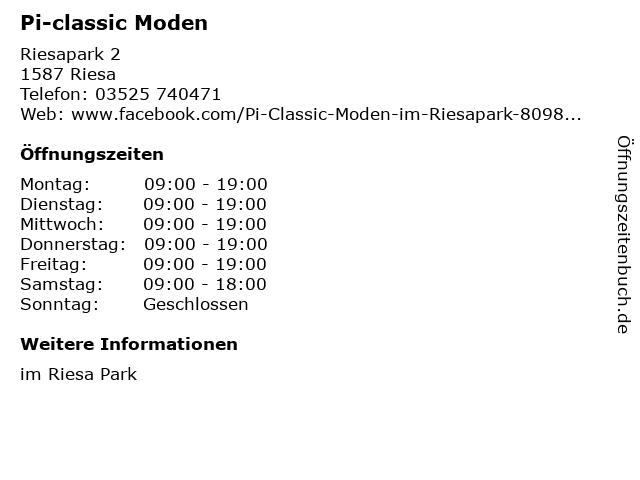 Pi-classic Moden in Riesa: Adresse und Öffnungszeiten