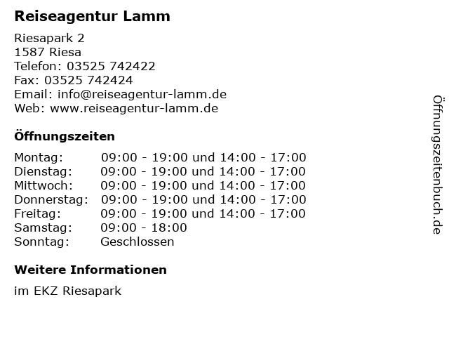 Reiseagentur Lamm in Riesa: Adresse und Öffnungszeiten