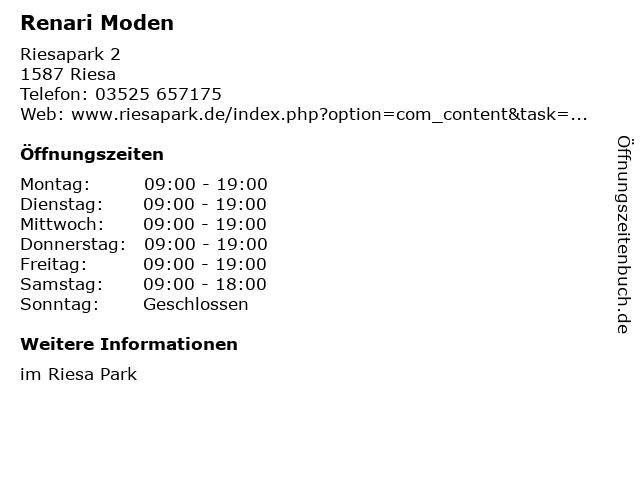 Renari Moden in Riesa: Adresse und Öffnungszeiten