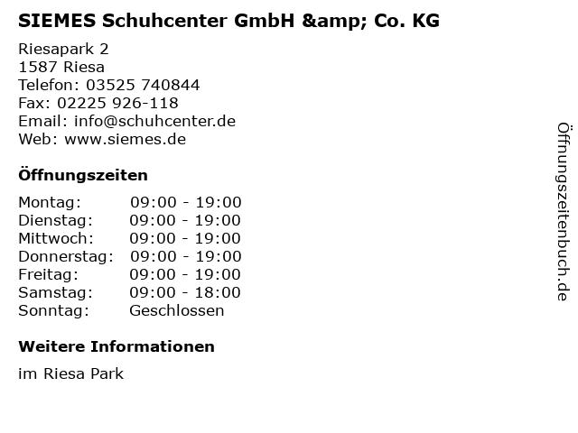 SIEMES Schuhcenter GmbH & Co. KG in Riesa: Adresse und Öffnungszeiten