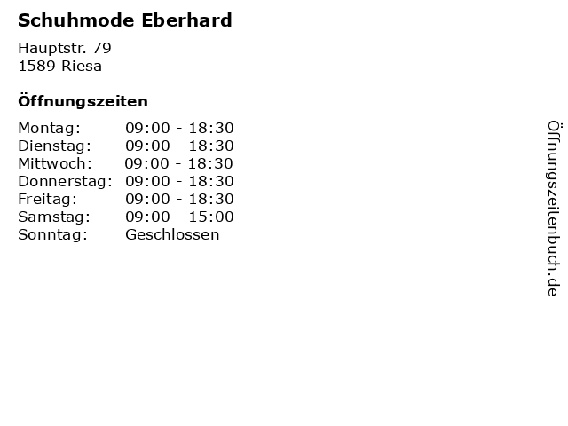 Schuhmode Eberhard in Riesa: Adresse und Öffnungszeiten