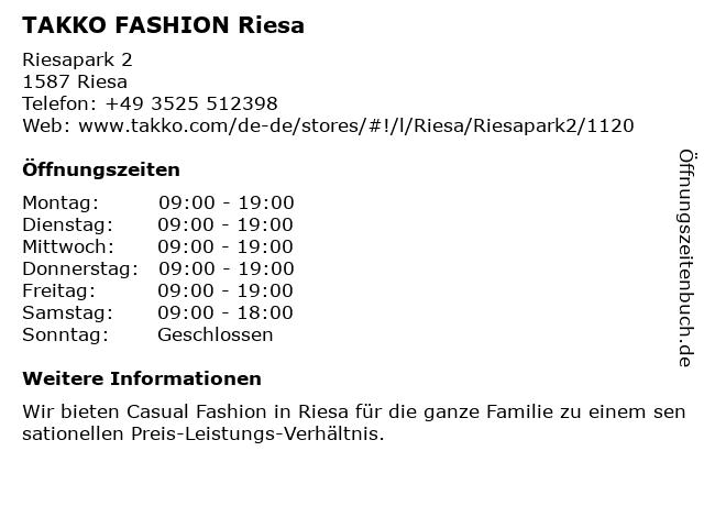Takko Fashion in Riesa: Adresse und Öffnungszeiten
