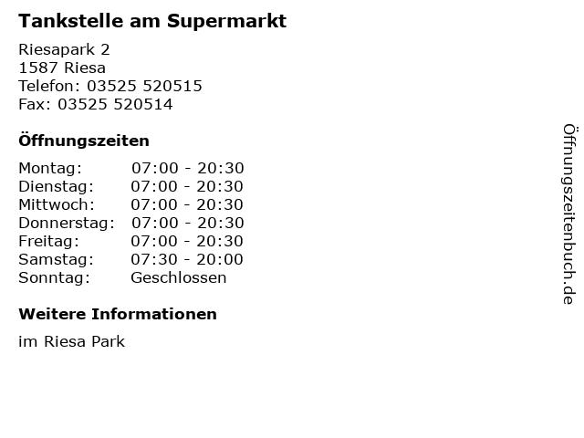 Tankstelle am Supermarkt in Riesa: Adresse und Öffnungszeiten