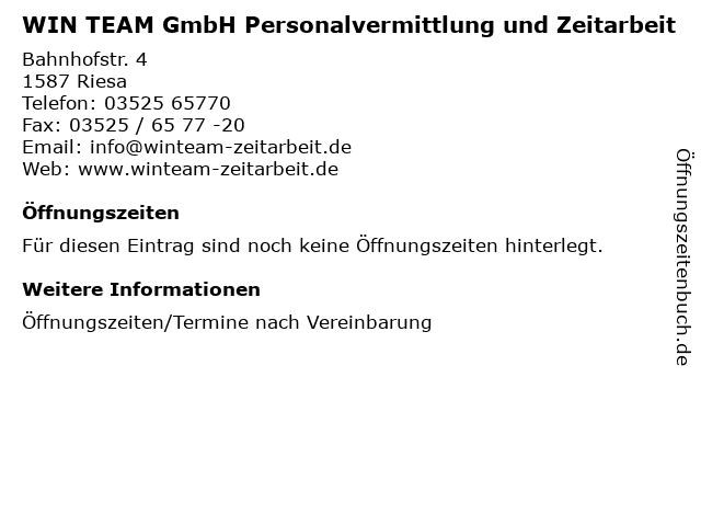 """super popular nice cheap first rate ᐅ Öffnungszeiten """"WIN TEAM GmbH Personalvermittlung und ..."""