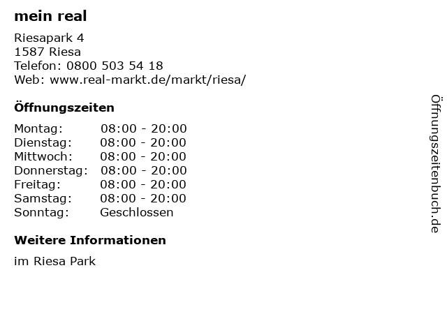 real,- SB-Warenhaus GmbH in Riesa: Adresse und Öffnungszeiten