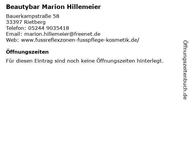 Beautybar Marion Hillemeier in Rietberg: Adresse und Öffnungszeiten