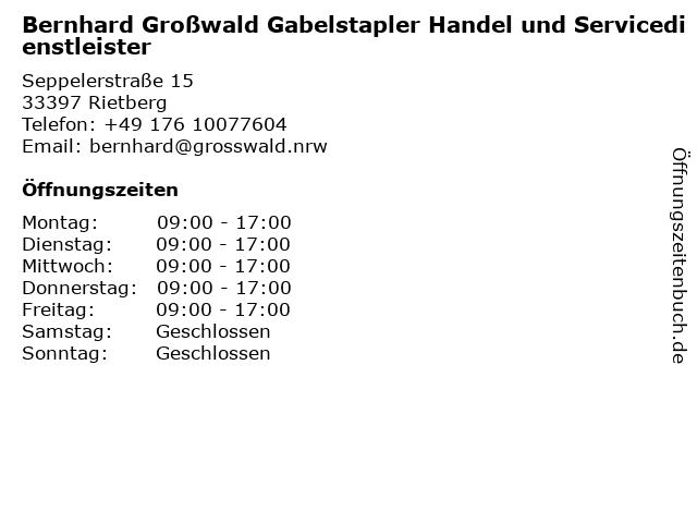 Bernhard Großwald Gabelstapler Handel und Servicedienstleister in Rietberg: Adresse und Öffnungszeiten