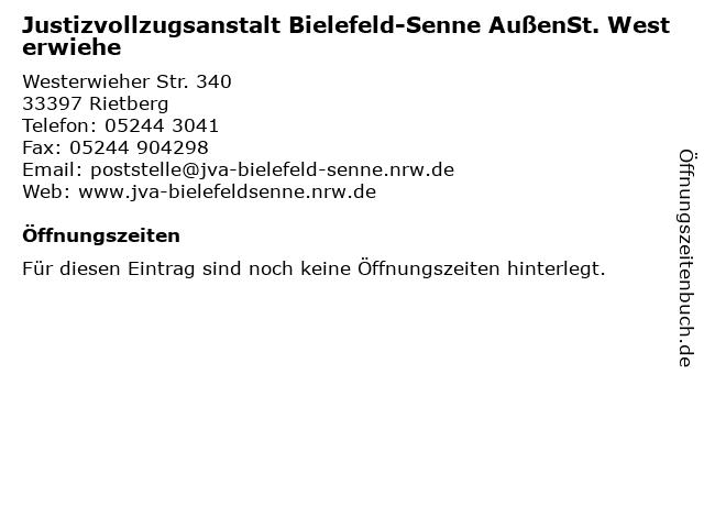 Justizvollzugsanstalt Bielefeld-Senne AußenSt. Westerwiehe in Rietberg: Adresse und Öffnungszeiten