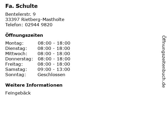 Fa. Schulte in Rietberg-Mastholte: Adresse und Öffnungszeiten