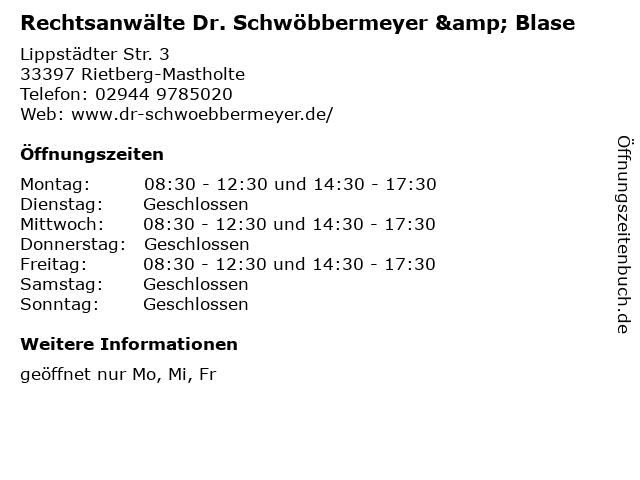 Rechtsanwälte Dr. Schwöbbermeyer & Blase in Rietberg-Mastholte: Adresse und Öffnungszeiten