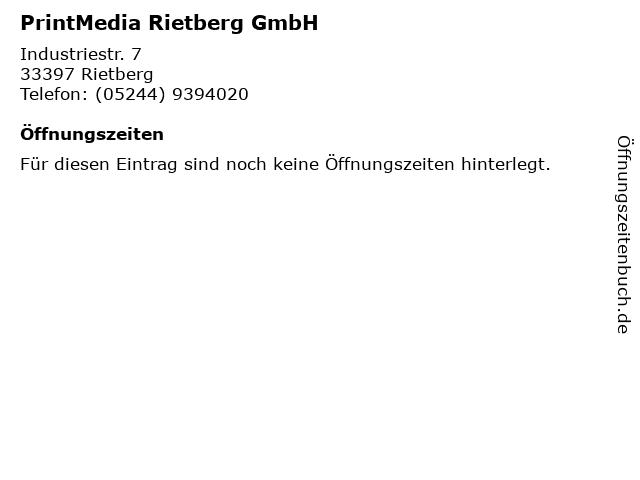 PrintMedia Rietberg GmbH in Rietberg: Adresse und Öffnungszeiten