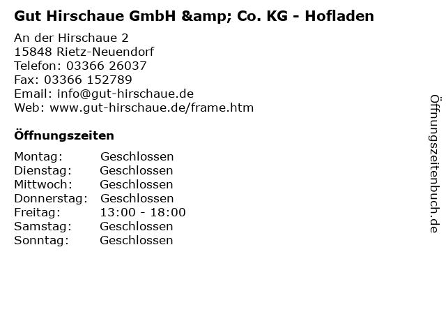 Gut Hirschaue GmbH & Co. KG - Hofladen in Rietz-Neuendorf: Adresse und Öffnungszeiten