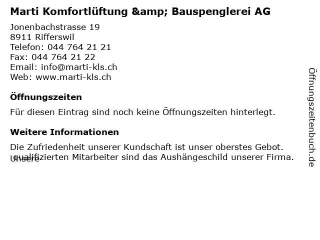 Marti Komfortlüftung & Bauspenglerei AG in Rifferswil: Adresse und Öffnungszeiten