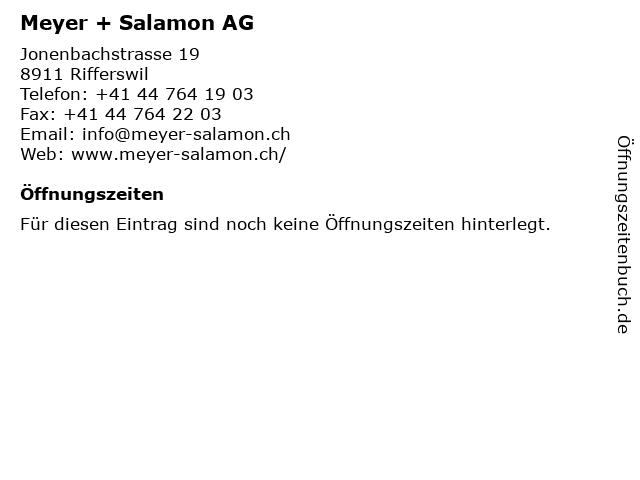 Meyer + Salamon AG in Rifferswil: Adresse und Öffnungszeiten