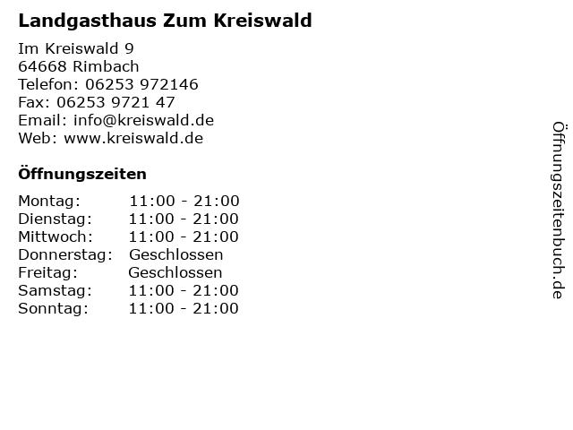 Landgasthaus Zum Kreiswald in Rimbach: Adresse und Öffnungszeiten