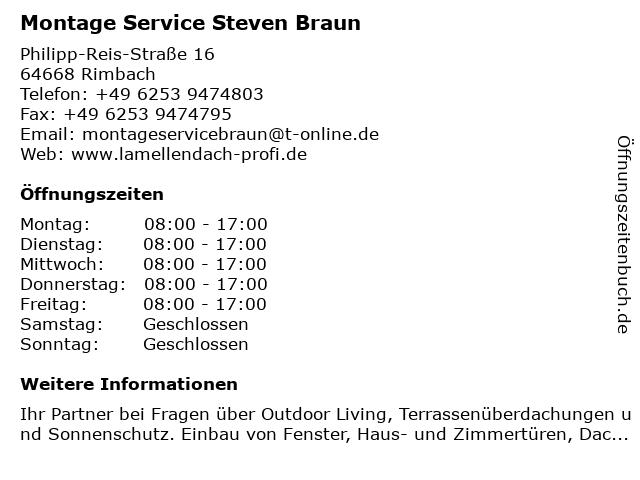 Montage Service Steven Braun in Mörlenbach: Adresse und Öffnungszeiten