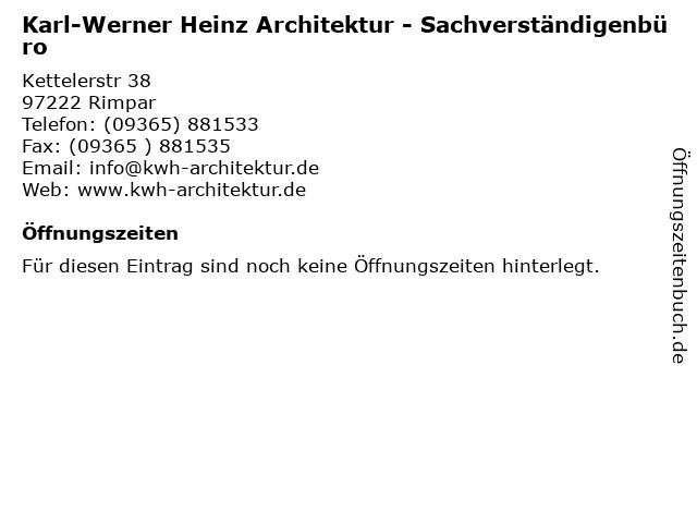 Karl-Werner Heinz Architektur - Sachverständigenbüro in Rimpar: Adresse und Öffnungszeiten