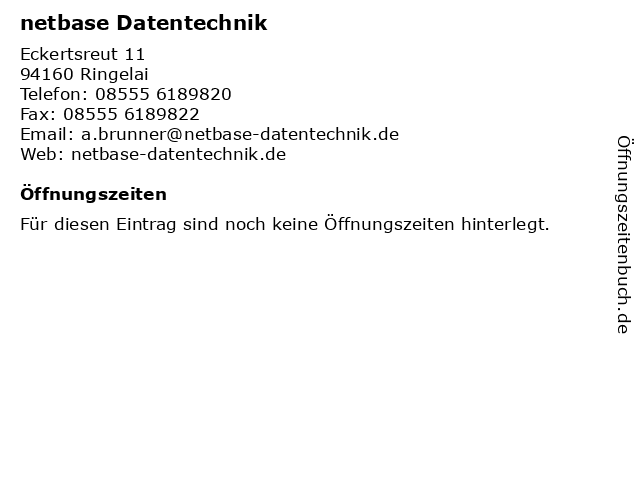 netbase Datentechnik in Ringelai: Adresse und Öffnungszeiten