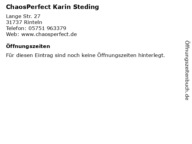 ChaosPerfect Karin Steding in Rinteln: Adresse und Öffnungszeiten