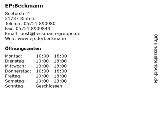 EP:Beckmann in Rinteln: Adresse und Öffnungszeiten