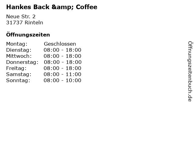 Hankes Back & Coffee in Rinteln: Adresse und Öffnungszeiten