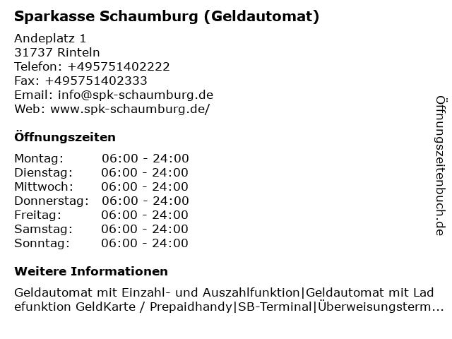 Sparkasse Schaumburg in Rinteln: Adresse und Öffnungszeiten