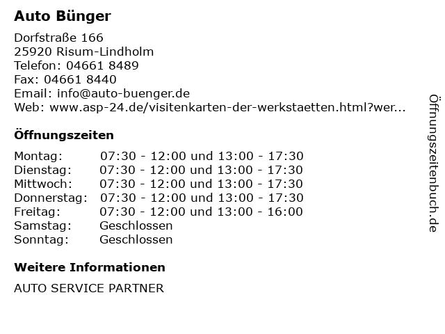 Auto Bünger in Risum-Lindholm: Adresse und Öffnungszeiten