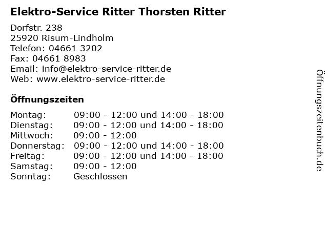 Elektro-Service Ritter Thorsten Ritter in Risum-Lindholm: Adresse und Öffnungszeiten
